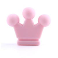 Figurita de silicona- Corona 32x28 mm- Color Rosa bebe