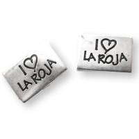 "Entrepieza rectang ZAMAK baño plata  I LOVE LA ROJA"""" 26x19 mm"