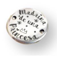 Entrepieza Zamak baño plata madrina de una princesa 25 mm(1076)