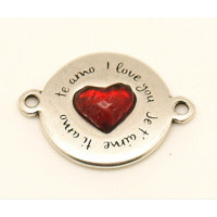 Entrepieza ZAMAK baño plata Te amo I Love you 33x25 mm con corazon resina rojo