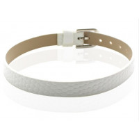 Base pulsera plana simil cuero plano 8 mm - Blanco
