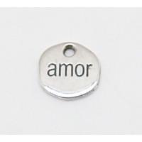 Colgante Zamak baño de plata chapa Amor 14 mm, int 2 mm