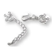 Cierre cadena 3 vias broche collar plateado con cadenita