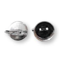 Broche plateado redondo 24 mm ( cierre facil) - 10 uds