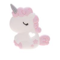 Figura silicona 80x60 mm- Mordedor Unicornio bebe - Rosa bebe