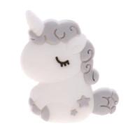 Unicornio bebe de silicona 32x24x7 mm- Color Gris Claro