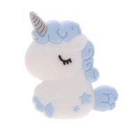 Unicornio bebe de silicona 32x24x7 mm- Color Azul bebe