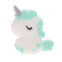 Unicornio bebe de silicona 32x24x7 mm- Color Menta