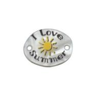 Entrepieza plexy oval I love Summer - 18x14 mm, int 1.5 mm
