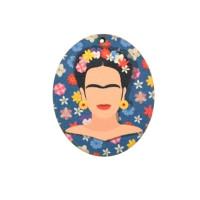 Frida- Colgante madera azul 45x37 mm