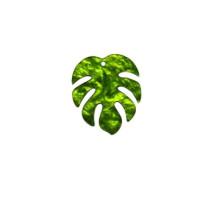 Colgante hoja mostera plexy 30x35 mm, int 1.5 mm - Verde perlado