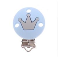Pinza chupetero silicona redonda corona 35x52 mm- Azul bebe/gris claro