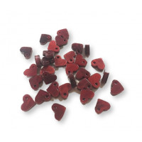 Colgante corazon rojo oscuro perlado mini de plexy 9x8 mm, int 1.2 mm