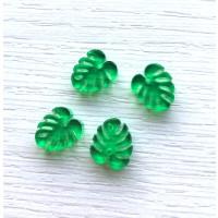 Plexy verde- Colgante hoja tropical mostera mini 10x8 mm, int 1 mm