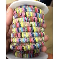 Cordón 100% algodón 6,5 mm trenzado étnico pastel multi - 1 metro