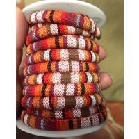 Cordón 100% algodón 6,5 mm trenzado étnico marron multi - 1 metro
