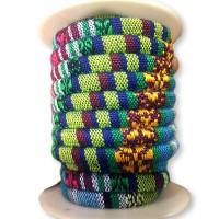 Cordón 100% algodón 6,5 mm trenzado étnico azul-verde - 1 metro