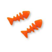 Plexy naranja- Colgante raspa pescado 21x9 mm, int 1.5 mm