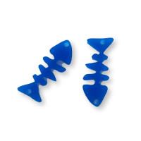 Plexy azul- Colgante raspa pescado 21x9 mm, int 1.5 mm