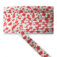 Cinta elastica ancho 15 mm - Estampado Flores rojas - 1 metro