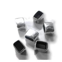 Entrepieza Zamak baño de plata cuadrado irregular regaliz 13x10 mm