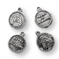 Medalla Zamak plateado virgen Hazme el milagrito 15 mm