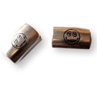 Pasador tubo Zamak emoticono sonrisa 21x14 mm para cuero regaliz