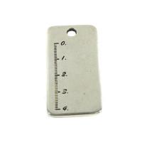 Colgante regla XL ZAMAK baño plata chapa grabar 47x23 mm, int 4 mm