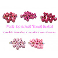 Pack 100 bolitas de madera antibaba 8 mm - Colores Tonos Rosas 02-03-04-05-27