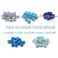 Pack 100 bolitas de madera antibaba 8 mm - Colores Tonos Azules 18-19-20-21-35