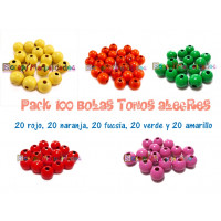 Pack 100 bolitas de madera antibaba 10 mm - Colores Tonos Alegres 14-05-11-13-17