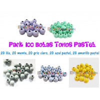 Pack 100 bolitas de madera antibaba 8 mm - Colores Tonos Pastel 06-10-35-36-30