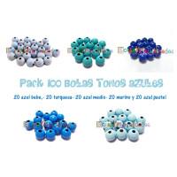 Pack 100 bolitas de madera antibaba 10 mm - Colores Tonos Azules 18-20-21-22-35