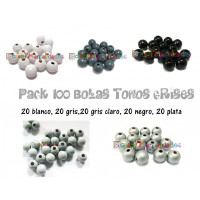 Pack 100 bolitas de madera antibaba 10 mm - Colores Tonos Grises 01-28-36-25-44