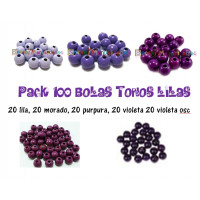 Pack 100 bolitas de madera antibaba 8 mm - Colores Tonos Lilas 06-07-08-31-32