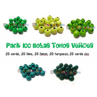 Pack 100 bolitas de madera antibaba 8 mm - Colores Tonos Verdes 16-17-26-29-34