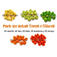 Pack 100 bolitas de madera antibaba 10 mm - Colores Tonos Citricos 11-12-13-16-26