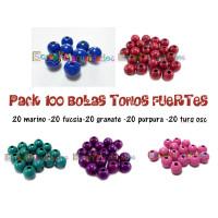 Pack 100 bolitas de madera antibaba 10 mm - Colores Tonos Fuertes 05-08-34-15-21