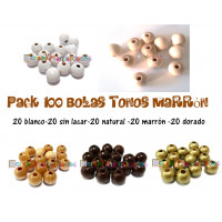 Pack 100 bolitas de madera antibaba 8 mm - Colores Tonos Marron 00-01-09-23-24