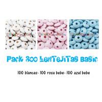 Pack maxi 300 lentejas de madera 10x5 mm-  Tonos basicos 01-02-18