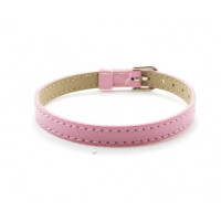 Base pulsera plana simil cuero costura 8 mm - Rosa
