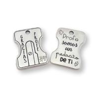 Sacapuntas para llavero zamak baño plata Modelo Profe 2 (ZC799)