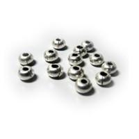 Lote 10 bolas rondel zamak baño plata bola 5x3.4 mm .Taladro 2.2 mm