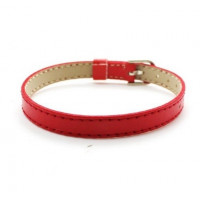 Base pulsera plana simil cuero costura 8 mm - Rojo