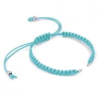 Pulsera base Azul Claro macrame con cierre nudo ajustable y detalles de acero