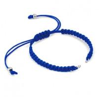 Pulsera base Azul macrame con cierre nudo ajustable y detalles de acero