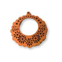 Flor- Colgante madera naranja 45 mm