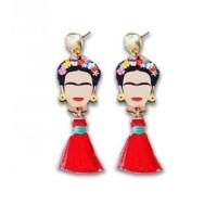 Pendientes FRIDA Kahlo terminados-  Pompones rojos