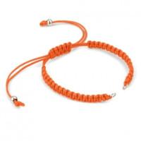 Pulsera base Naranja macrame con cierre nudo ajustable y detalles de acero