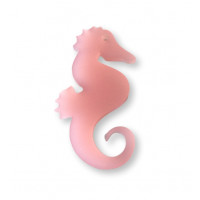 Plexy rosa frost- Colgante caballito mar grande 50x30 mm, int 1.5 mm